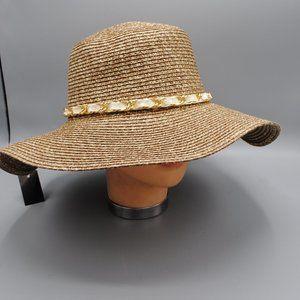 NWT Sun Hat Floppy Hat BROWN/WHITE GOLD CHAIN